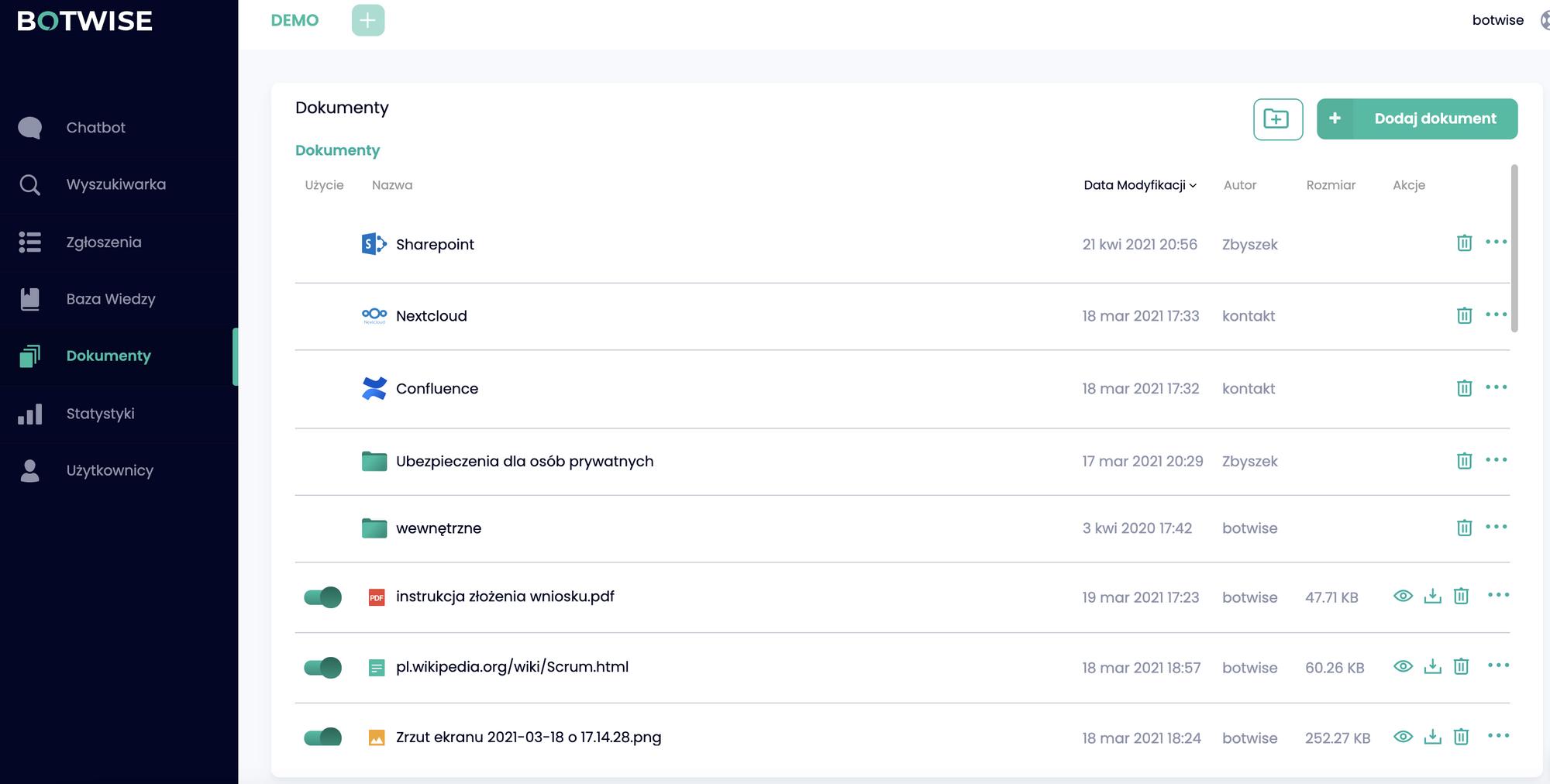 Baza wiedzy BOTWISE, ekran Dokumenty z wersji demo