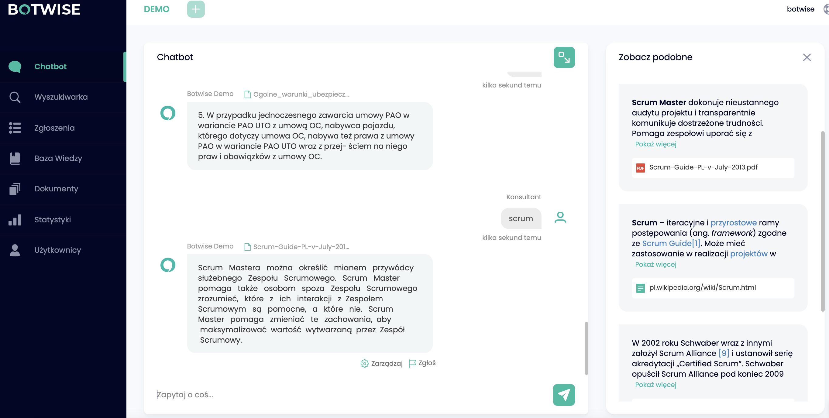 Chatbot proponuje podobne dokumenty, którymi mogą się przydać użytkownikowi