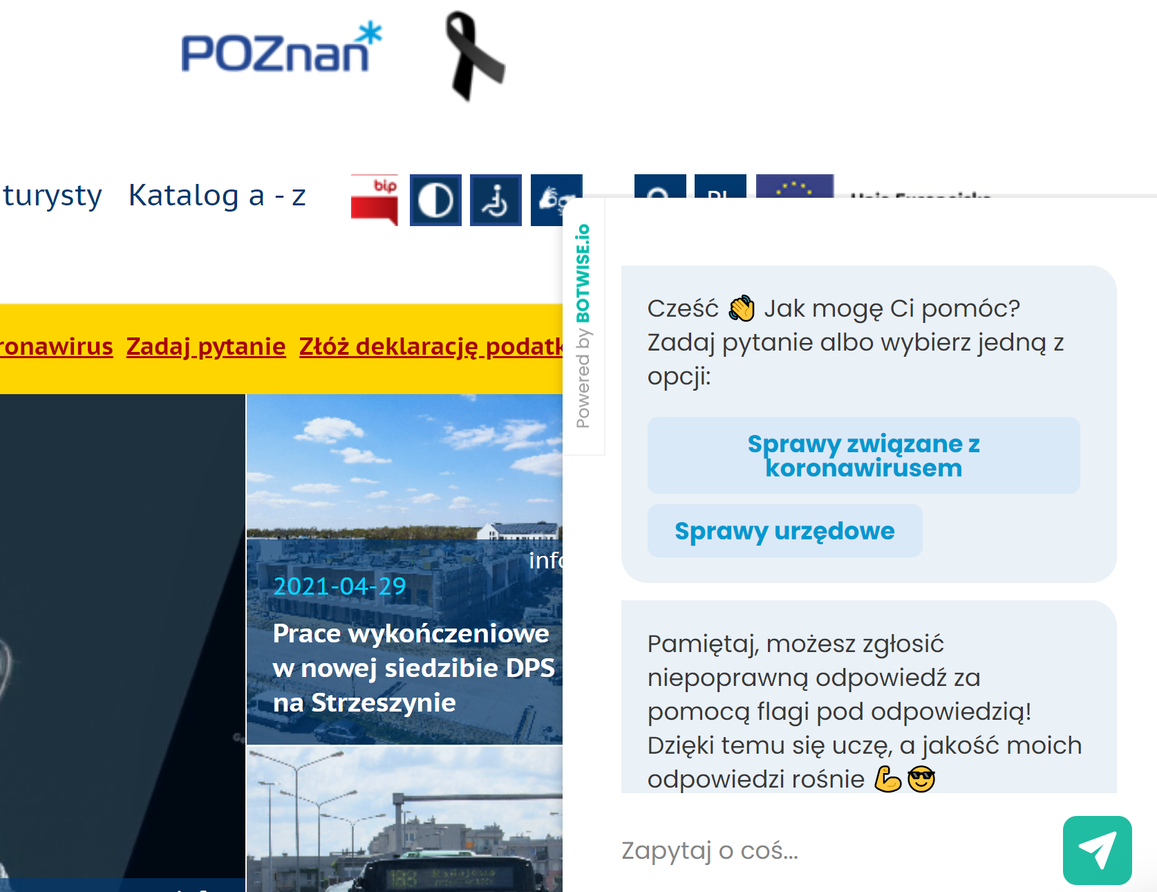 BOTWISE dla UM Poznań wdrożyliśmy do korzystania zarówno dla pracowników jak i interesantów